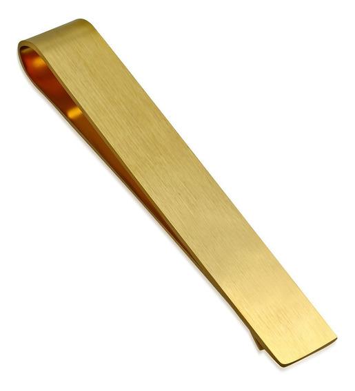 Pisacorbatas De Acero Dorado Liso Ancho De 10mm