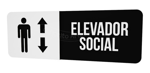 Imagem 1 de 2 de Placa Preta Elevador Social Hotel Consultório Restaurante