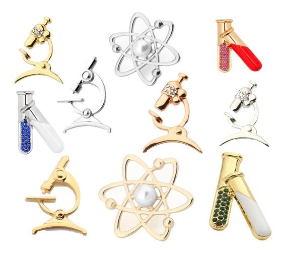 Broche Pin Microscopio Átomo Biólogo Químico Físico Ciencia