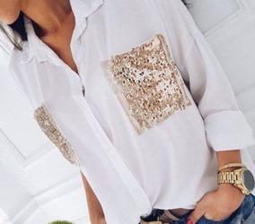 Camisa Feminina Com Bolso Paetê