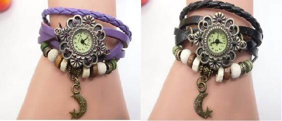 Kit 10 Relógios Femininos Pulseira De Couro Com Pingente