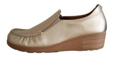 Sapato Mocassim Com Salto Anabela Bege Usaflex 0202 Compre!