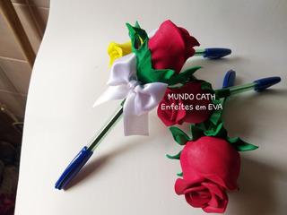 Lembrancinha Botao Rosa Caneta Mães Mulheres Igreja Eva 10u