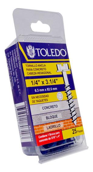 Toledo - Tornillo Para Concreto Cabeza Hexagonal 1/4 X 3.1/4