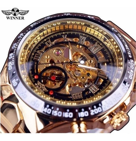 Relógio Winner Esqueleto Automatico Original Golden