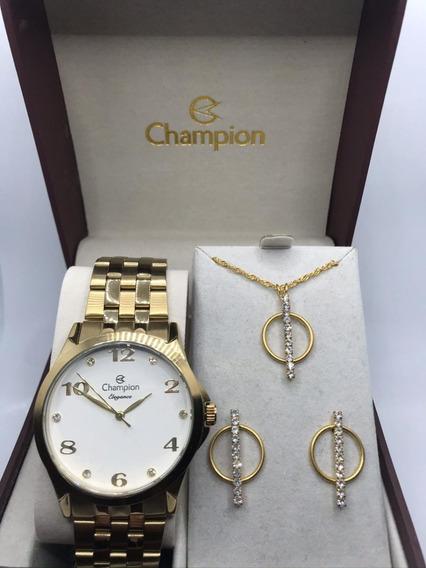 Relógio Champion Dourado Feminino Original + Colar E Brincos