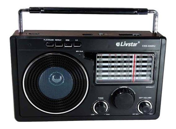 Radio Com Usb Fm Am 11 Bandas Livstar Recarregavel 110v E 220v