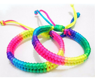 2 Pulseiras Artesanal Rainbow Luminous Unisex-frete R$12