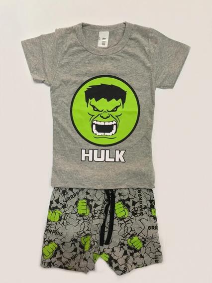 Conjunto Infantil Masculino Hulk - Camiseta+short - Verão