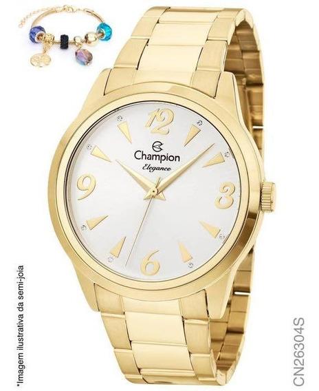 Relógio Banhado A Ouro Champion + Pulseira - Original Nf