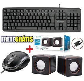 Teclado + Mouse Usb + Caixa De Som Gamer Pc Escritório Jogos