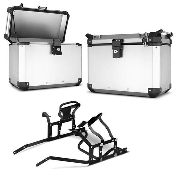 Bau Lateral Side Case Roncar Par Preto + Suporte Cb 500x