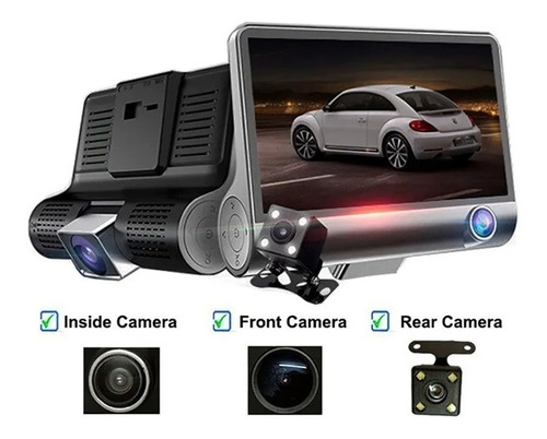 Video Camara Dvr Para Carro 3 Lentes Frontal Reversa Interno