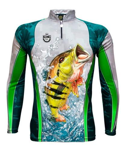 Imagem 1 de 2 de Camiseta De Pesca King Brasil Sublimada Manga Longa - Kff423