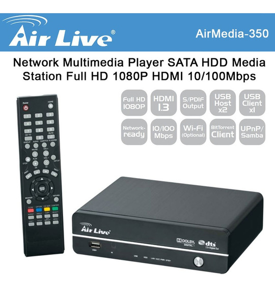 Multi Media Hd Player Air Live 350 1080p Porta Usb/rede