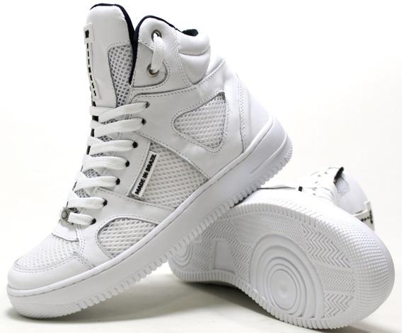 Tênis Fitness Academia Cano Alto Palmilha Gel Sneaker Couro