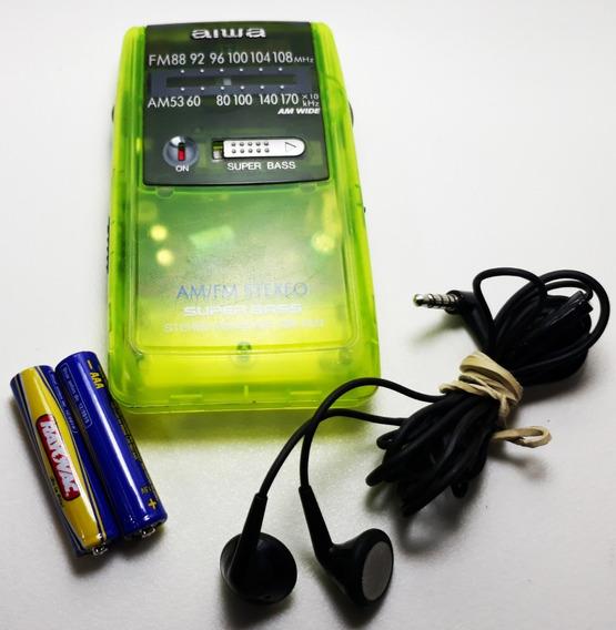 Rádio De Pilha Aiwa Cr-a31w (funcionando) Am/fm (retrô 1990)