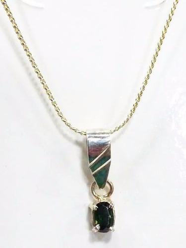 Gargantilha Pingente Turmalina Verde Em Prata Lei 925