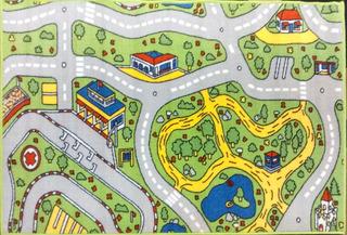 Carpeta Alfombra Infantil Pista De Autos 67 X 120 Mod.parque