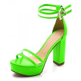 Sandalia Feminino Salto Grosso Verde Neon Com Transparencia