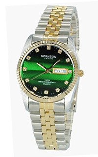 Swanson Japan Men.s Two-tone Day-date Watch Green Stone Dial