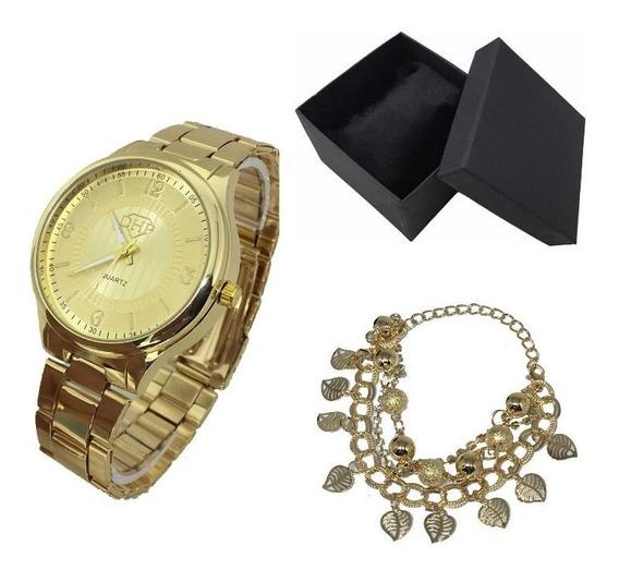 Kit 10 Relógio Feminino Dhp Pdágua+pulseira+caixa Atacado Re