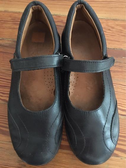 Zapatos Escolares Guillerminas De Cuero Excelente Estado 36