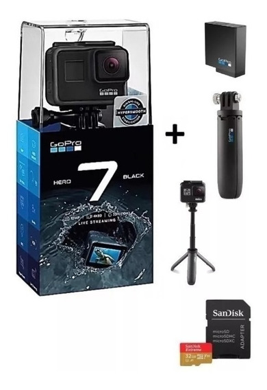 Gopro Hero 7 Black +32gb+bateria Extra+bastao Shorty + Nf-e