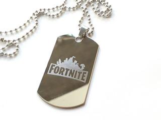Dog Tag Dije De Acero Grabado Logo Escudo Diseño Fortnite