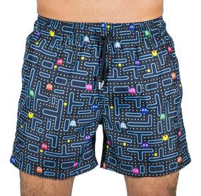 Traje De Baño Short Estampado Pacman Adulto Hustle Swimwear