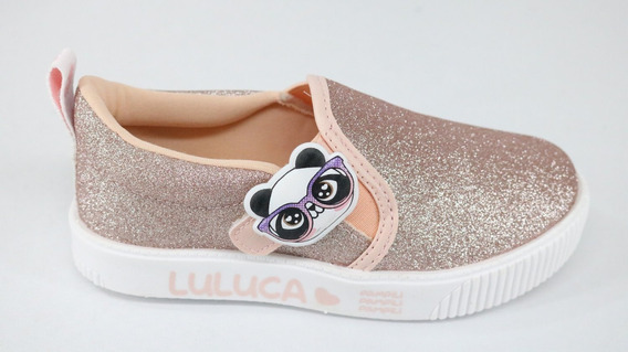 Tênis Pampili Luluca Slipon Tiras Aderentes Glitter Rosa