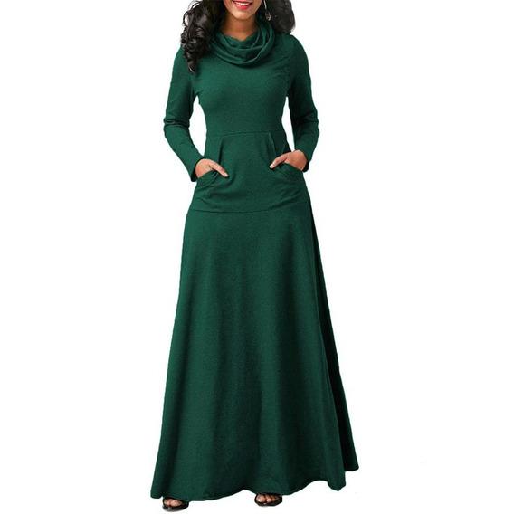 Vestido Largo De Manga Larga Vintage Vestido Largo Para Dama