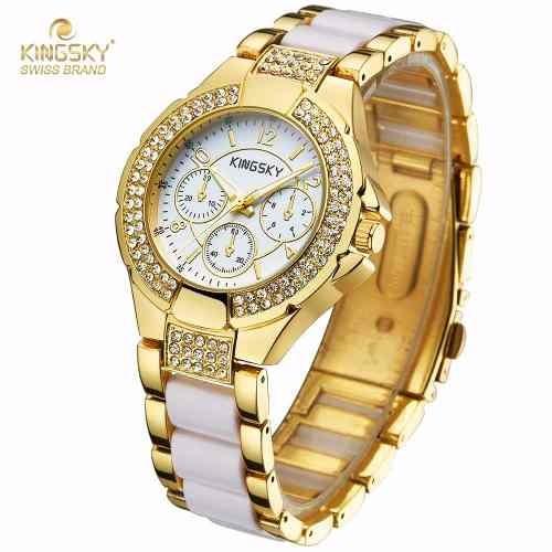 Relógio Feminino Dourado Com Porcelana Rosa
