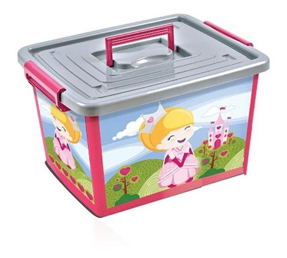 Bau Container Grande 50 Lts Princesas Com Rodinhas Rosa