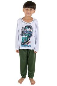 Kit 2 Pijama Infantil Masculino Manga Longa Estampado