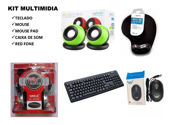 Teclado E Mouse Caixa De Som Red Fone Pra Pc Kit Multimidia Completo