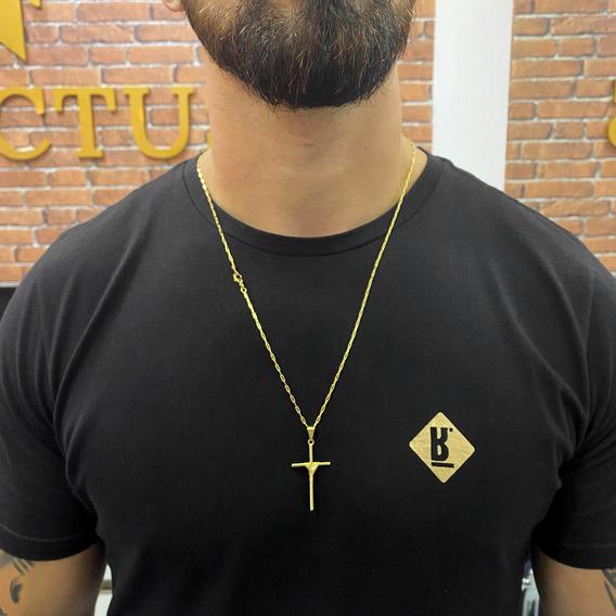 Corrente Cartier 70cm Com Pingente Cruz Banhado A Ouro 18k
