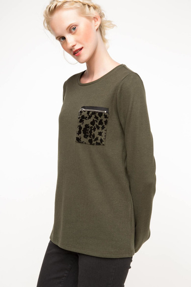 Suéter Defacto H3506az_kh211 Con Bolsillo Caqui Para Mujer