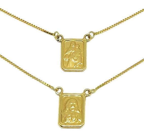 Escapulário Em Ouro 18k Veneziana Tradicional