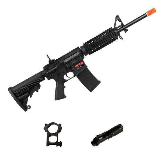 Rifle Airsoft M4a1 Kompetitor A.p.s Blowback 6mm + Lanterna