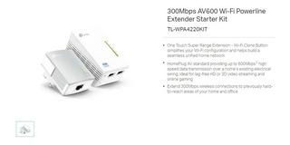Extensor Wifi Tp-link Powerline Av600 Tl-wpa4220 Kit