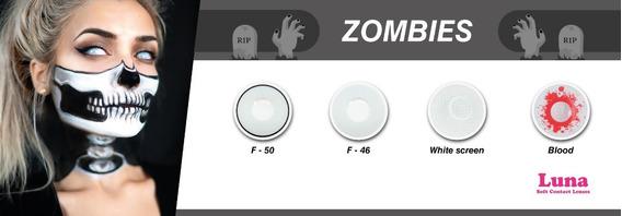 Lente De Contacto Blanco Zombie Disfraz Halloween Disfraces