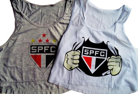 Kit 2 Blusas Cropped São Paulo Feminina Regata Camiseta