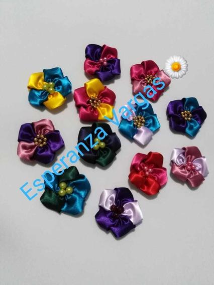12 Flor Satin Bicolor Cosidas Pegar Banda Bebé Tiara Tocados