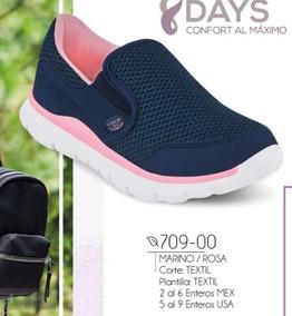 Tenis Casual Mujer Marino/rosa 709-00 Cklass Confort