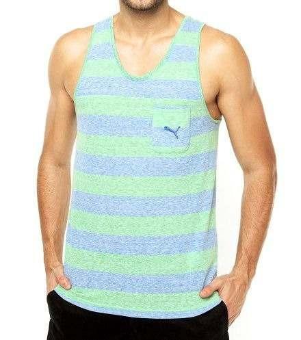 Regata Puma Style Surf Wear Camiseta Listrada Com Bolso