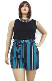 Shorts Feminino Plus Size De Amarrar Clochard +cores G Ao G3