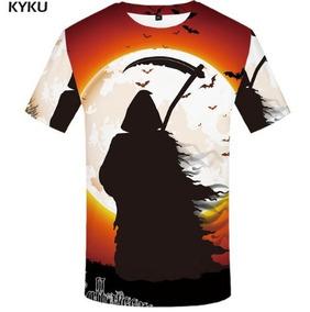 Camiseta Poliéster Preta Bruxa Morte Halloween Tam. M Barata