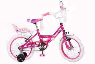 Bicicleta Cross Nena Princess Topmega R16 Con Rueditas.