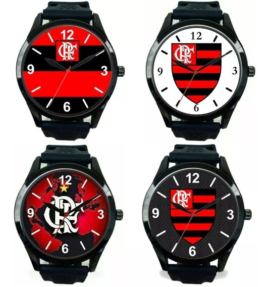 Relógio Pulso Flamengo Esportivo Masculino Promoção Kit 4
